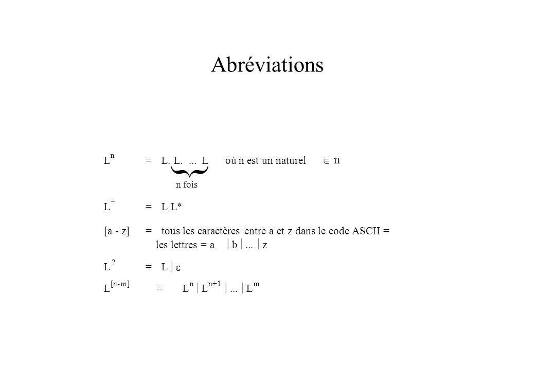 } Abréviations L = L. L. ... L où n est un naturel Î L L* [a - z]